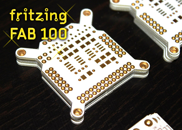 Fritzing Fab 100 PCB in gold