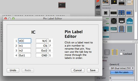 New pin label editor